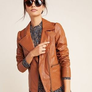 NWT Anthropologie Puff Sleeve Faux Leather Jacket
